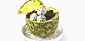 Carpaccio d'ananas aux trois saveurs