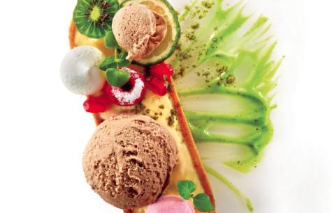 ACAÏ ICE CREAM, MATCHA POWDER AND CREAM, LEMON TART, EXOTIC FRUITS AND MARSHMALLOW