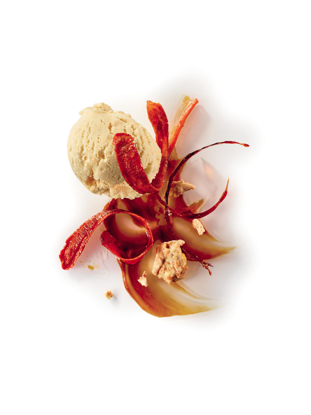 RICE PUDDING ICE CREAM BY PHILIPPE URRACA, CARAMELISED CARROT PEELING, SALTED CARAMEL SAUCE AND WHITE CHOCOLATE ROCHER