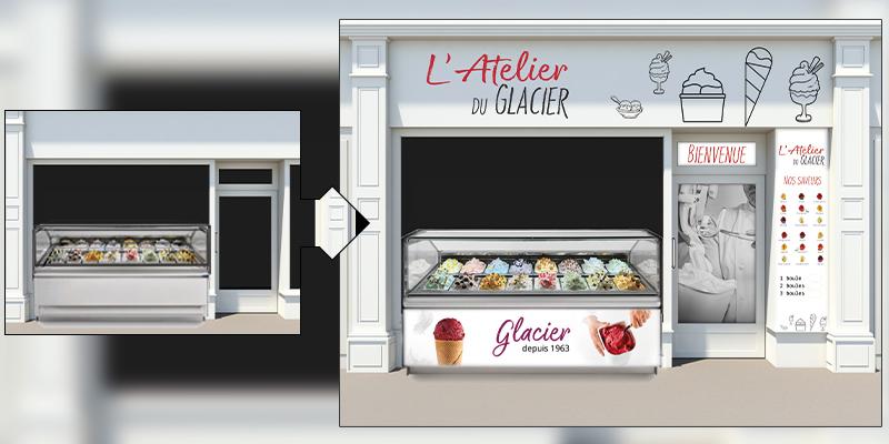 Mettez en valeur votre offre de glaces avec une Publicité sur le Lieu de Vente appropriée