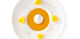 Soupe fraîche de mangue, glace sésame blanc