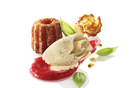 CANELÉ DE BORDEAUX ICE CREAM, CANELÉ TREAT AND CHIPS, BASIL, RED FRUIT COULIS AND PASSION...