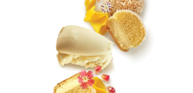 MINI TROPEZIENNES, TROPÉZIENNE ICE CREAM, MANGO RIBBON AND POMEGRANATE GRAINS