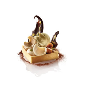 PISTACHIO, ALMOND AND HAZELNUT SORBET TRIO, IN A SHORT CUT PASTRY SHELL, MENDIANT AND CANDIED DRIED FRUITS